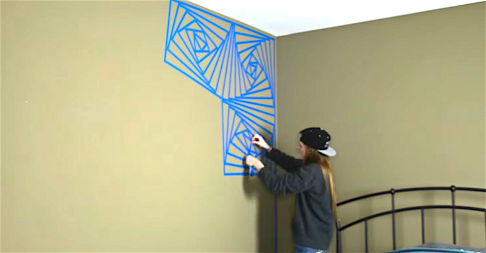 She Starts Covering One Corner Of Her Room In Blue Tape Spirals What She Puts Over That Wow Painters Tape Design Wall Wall Paint Designs Painters Tape Design