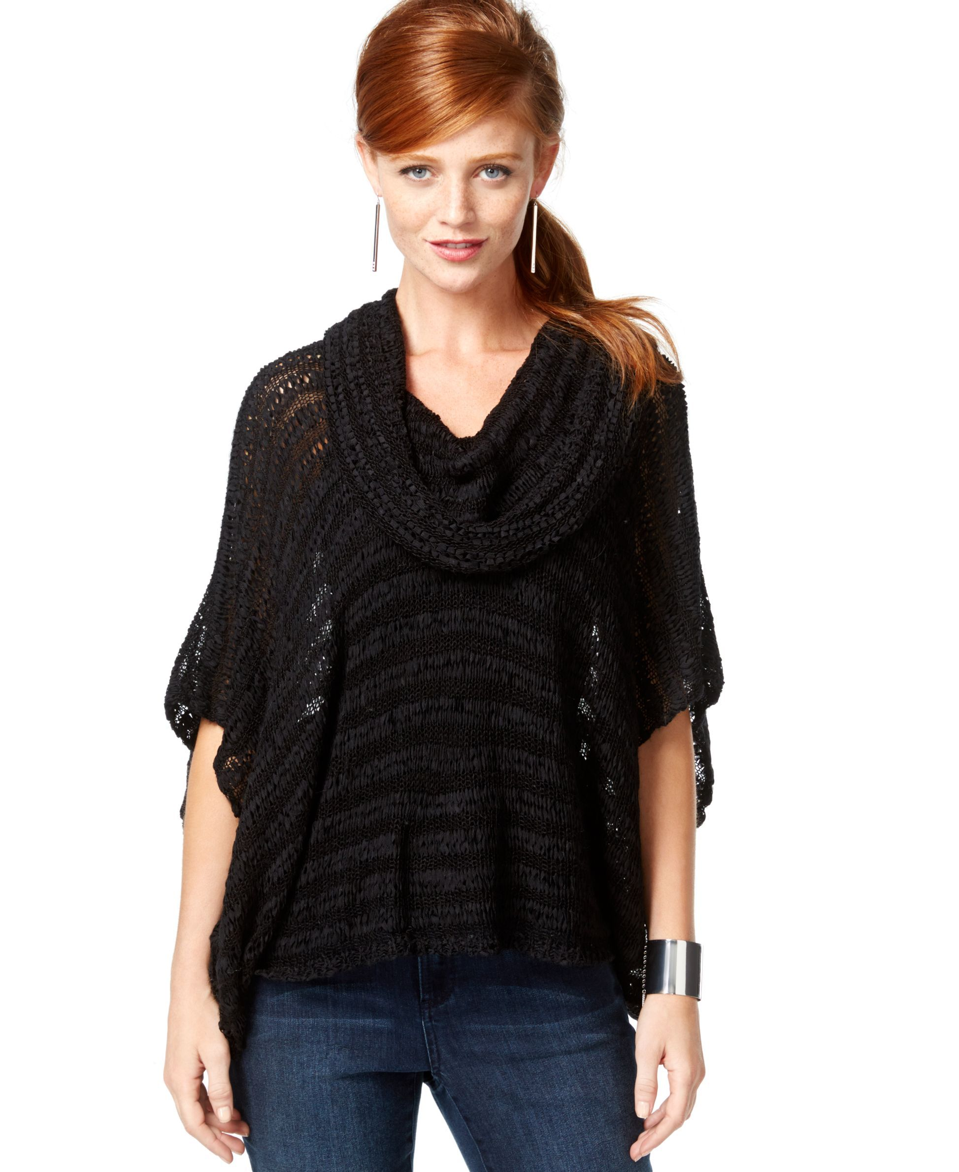 Inc International Concepts Cowl-Neck Poncho Sweater, Only at ...