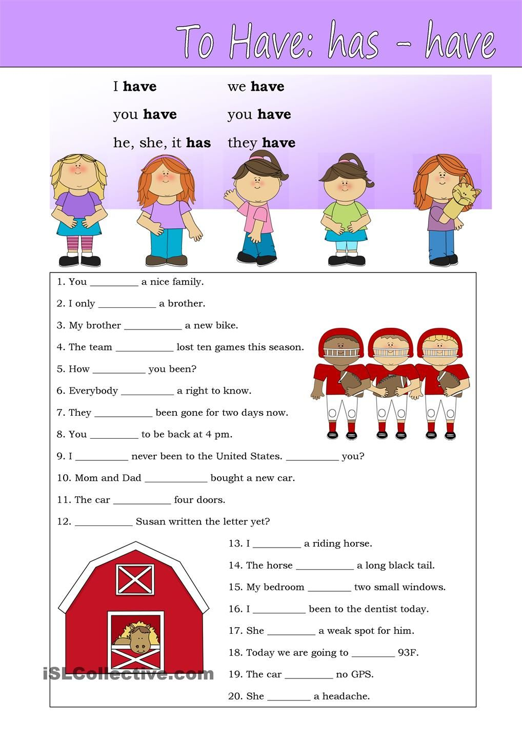 To have (hashave) Grammar for kids, Verb to have