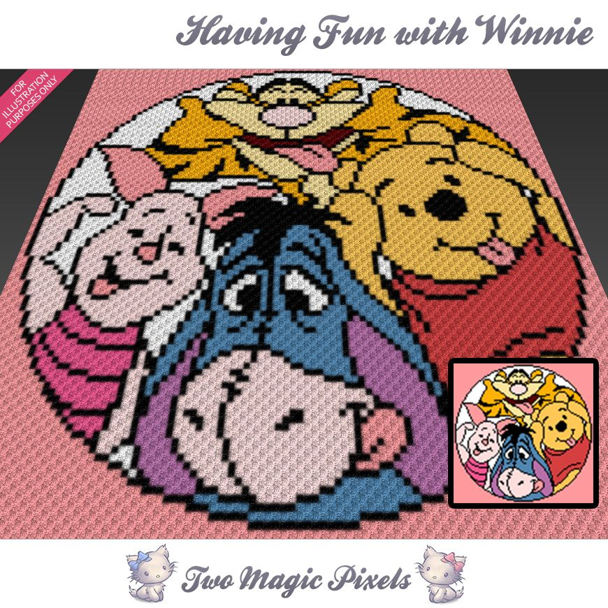 Having Fun with Winnie C2C Crochet Graph | Crochet-C2C | C2c