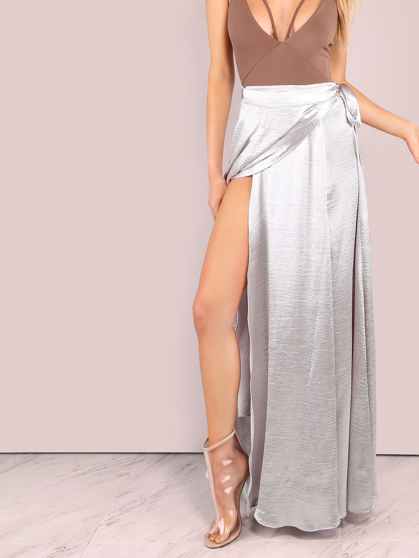 81336769943 Online shopping for Shiny Faux Satin Wrap Skirt SILVER from a great  selection of women s fashion clothing   more at MakeMeChic.COM.