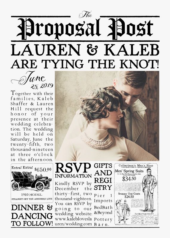vintage 1920s inspired newspaper wedding invitation suite