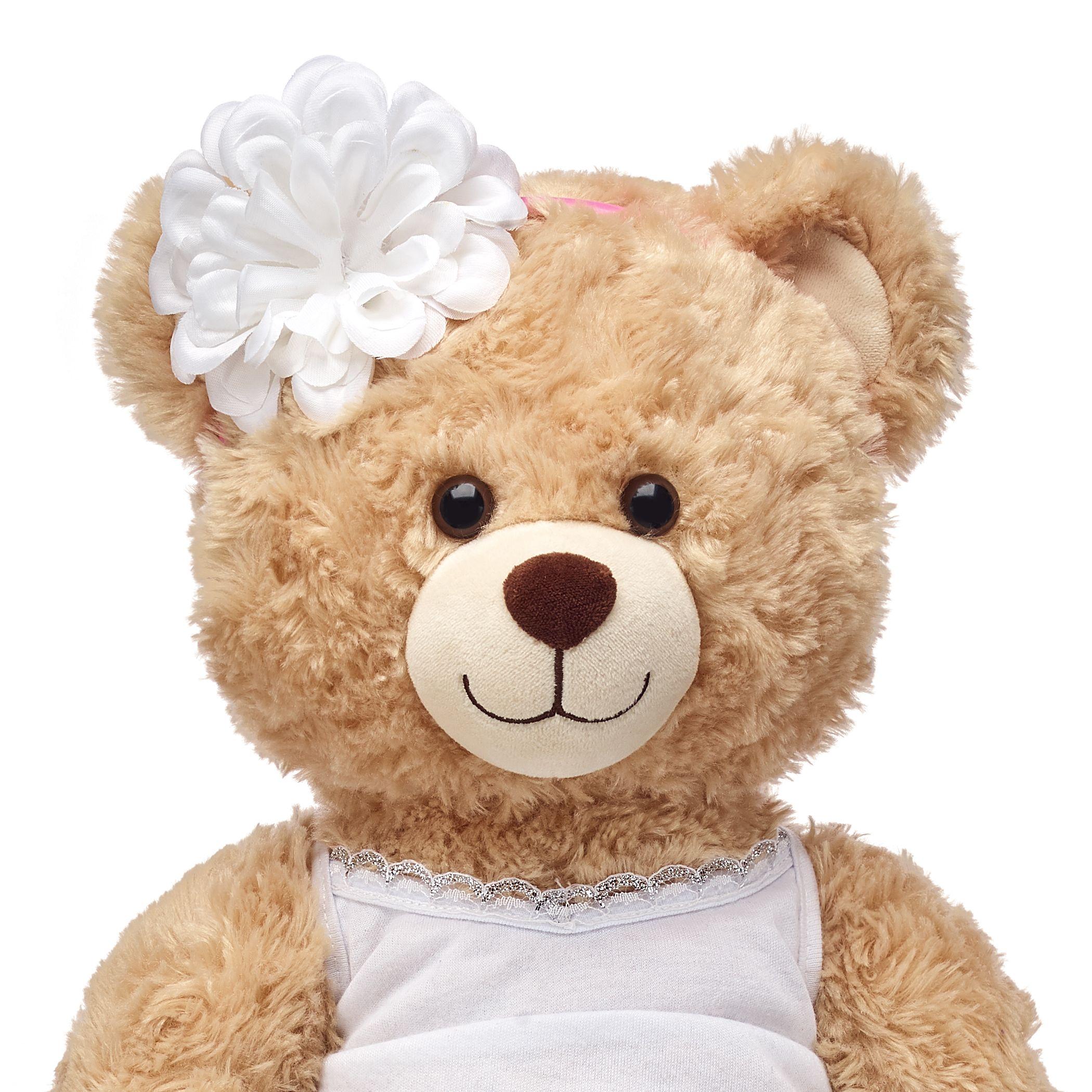 White Flower Headband Bear Stuffed Animal Small Teddy Bears Baby Plush [ 2100 x 2100 Pixel ]