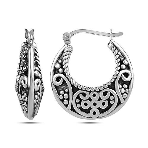 c8815cf0f LeCalla Sterling Silver Jewelry Antique Electroforming Twisted Wire  Filigree Cut Bali Hoop Earring for Women Who we are?LeCalla is a leading  online ...