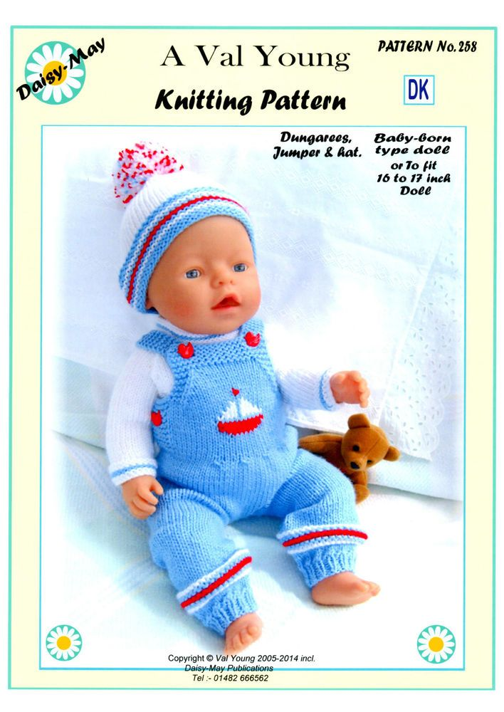 DOLLS KNITTING PATTERN for BABY BORN or 16 to 18 inch doll No 258 by ...