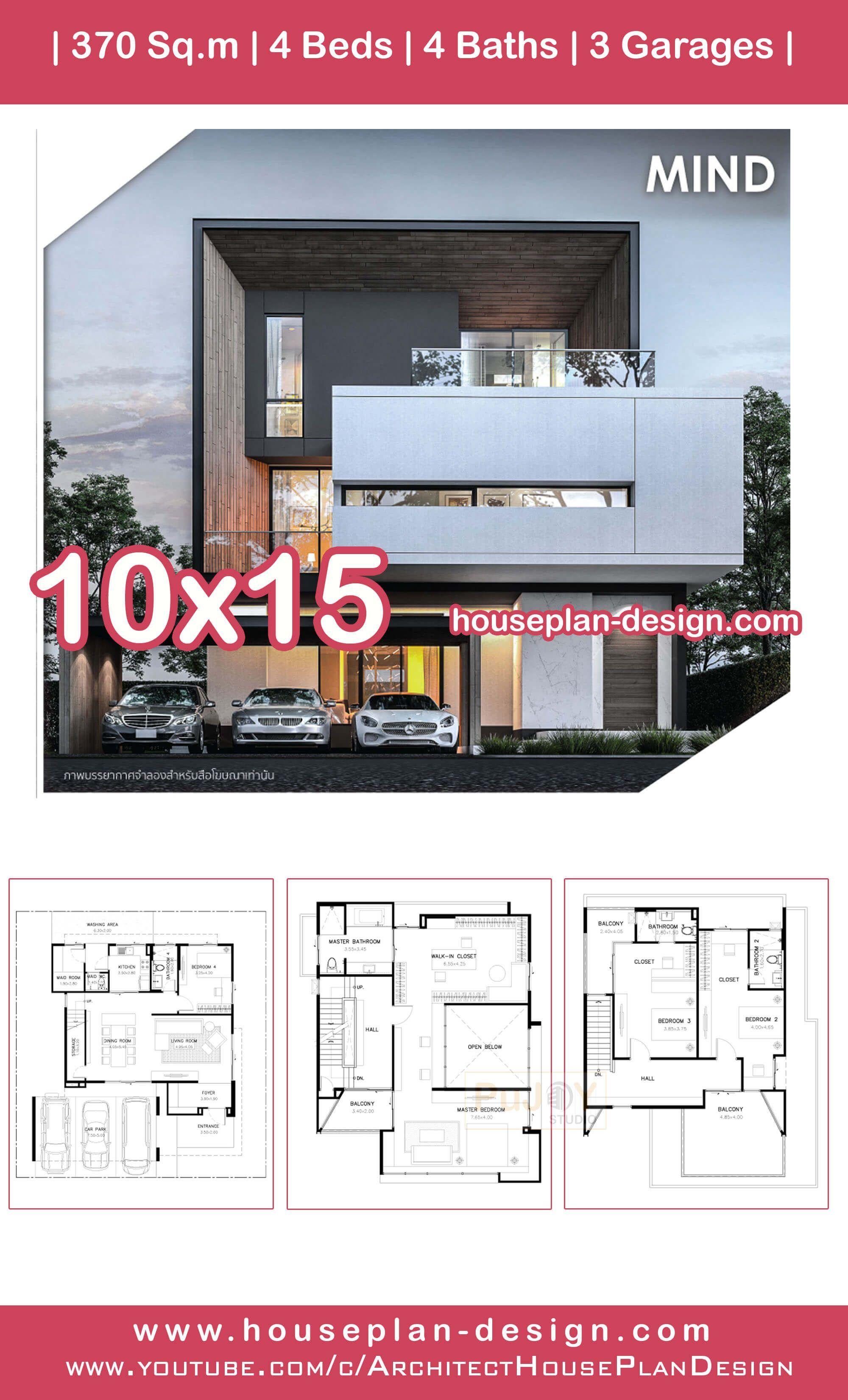 House Plan Design Modern House Plan 10x15m 4 Bedrooms House Plans Modern House Plan Modern Contemporary House Plans
