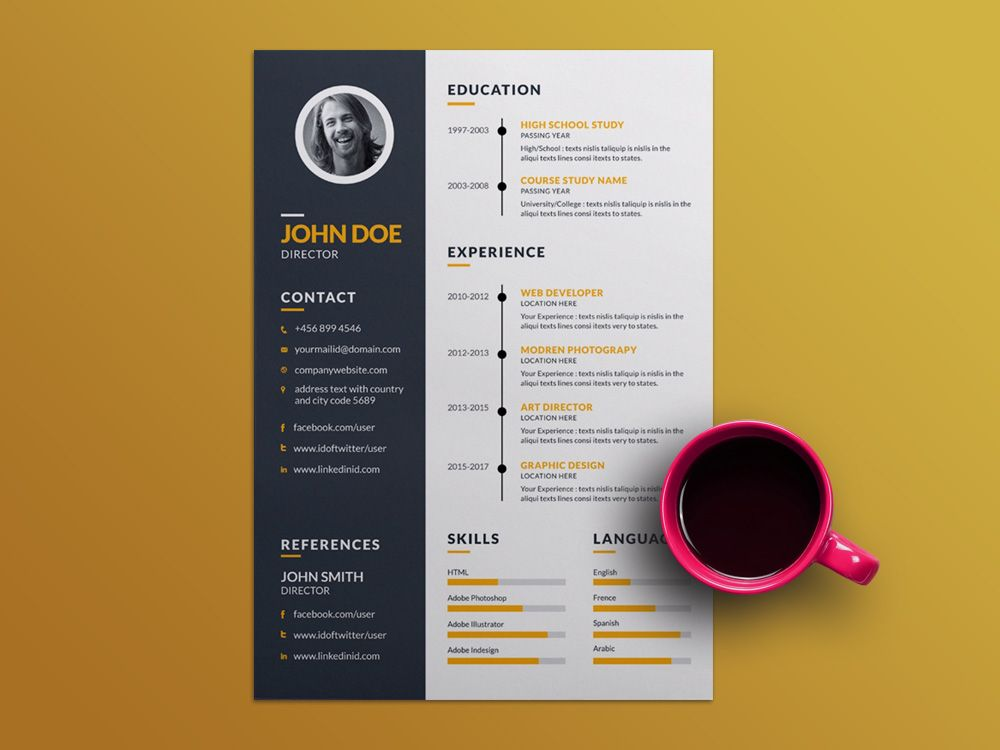 Free Creative Resume Template with Elegant Timeline Design Free