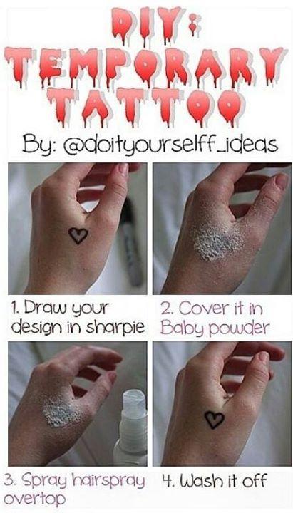 Sharpie Baby Powder And Hairspray Tattoo : sharpie, powder, hairspray, tattoo, Howto, #temporary, #tattoo, #homemade, #TemporaryTattooDesigns, Temporary, Tattoos,, Tattoo,, Tattoo, Permanent