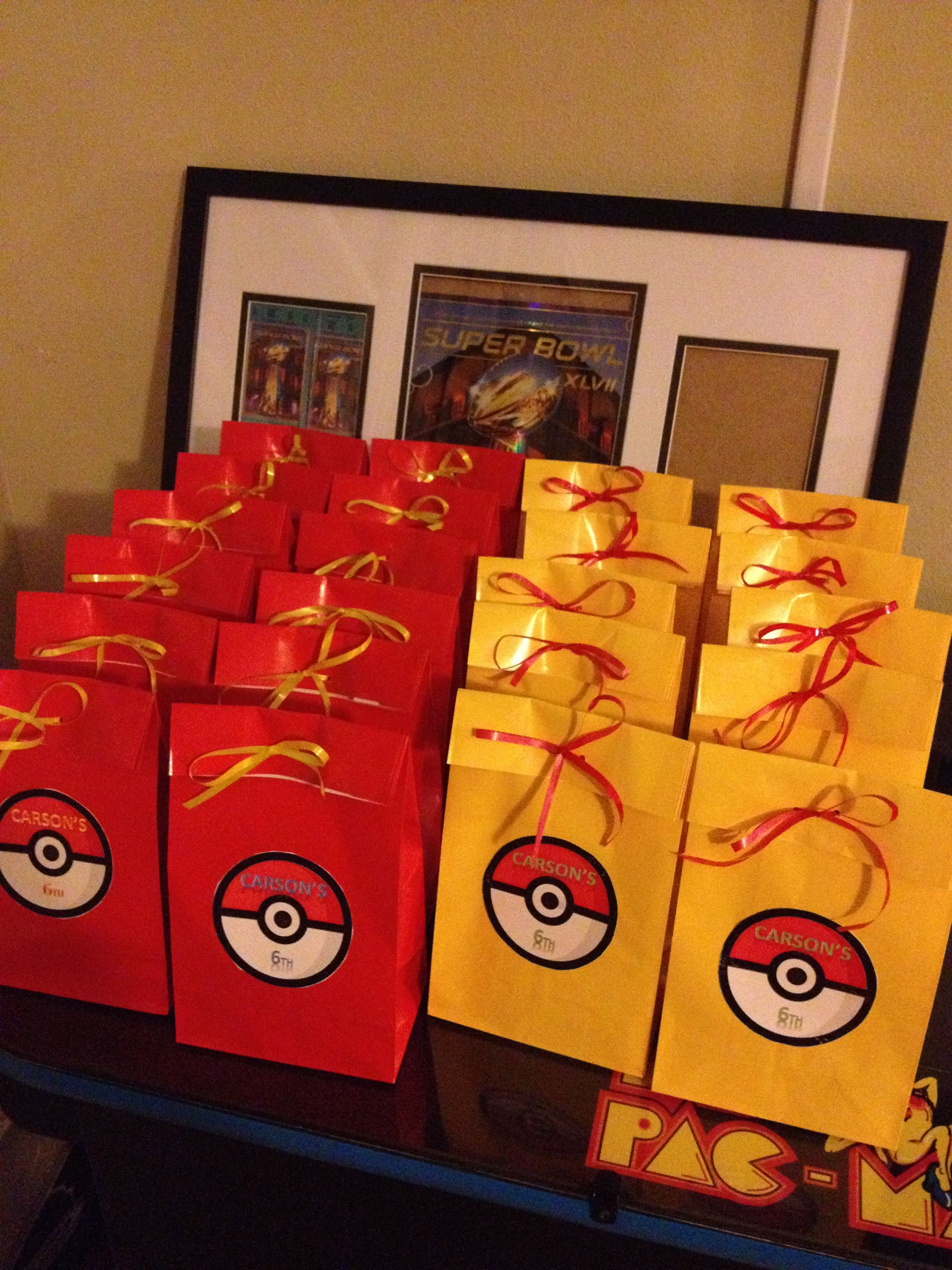 Made These Goody Bags For 6 Year Old Pokemon Birthday Pokemon Party Favors Pokemon Themed Party Pokemon Birthday Party