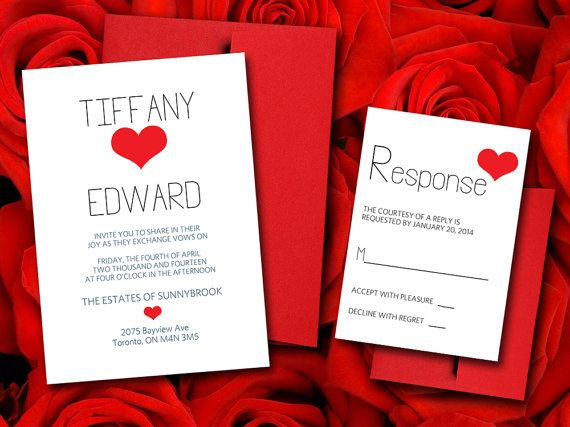 Invitations Word Template Custom Wedding Invitation Response Card Template Package  Typography Red .