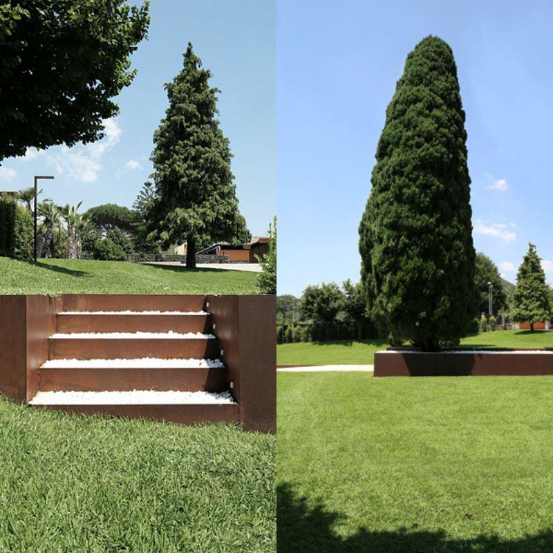 außentreppe aus cortenstahl mit kies befüllt | garten, Garten und erstellen