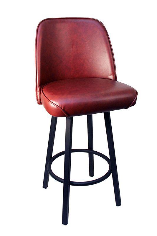 GLADIATOR Basic Wine Commercial Bucket Seat Bar Stool On Black Base   Bar U0026  Restaurant Furniture