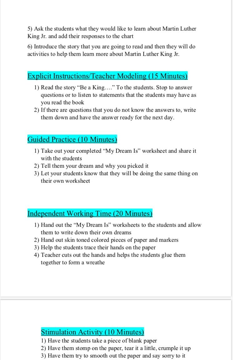 Pin On I Have A Dream Lesson Plan