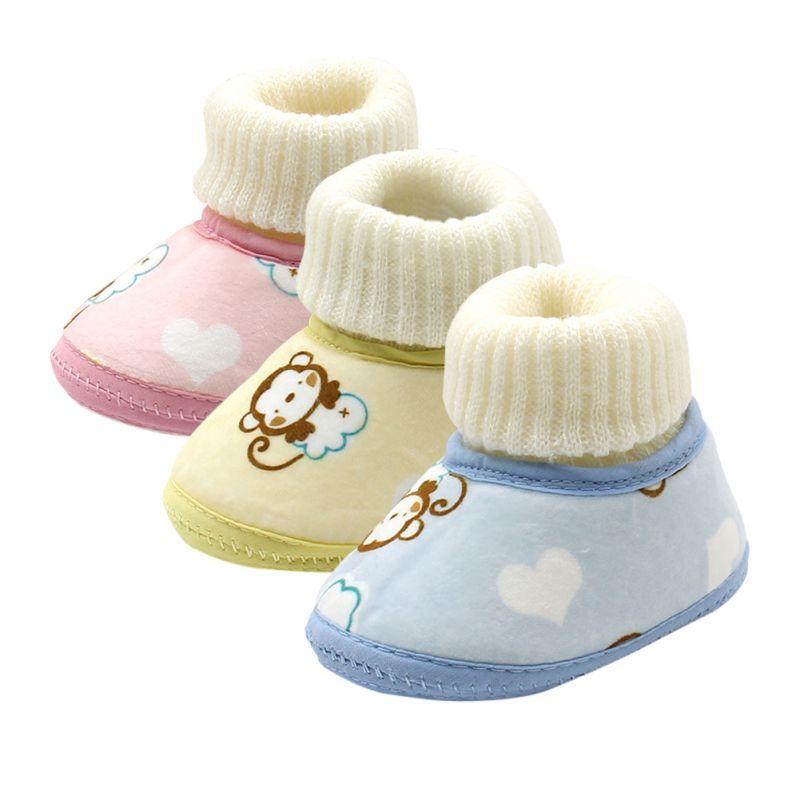 Automne hiver bébé garçon Soft Sole première Walker chaussures de berceau bottes de neige Gris 6TmTgn2