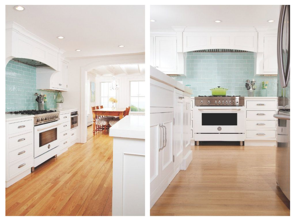 Charmant White Kitchen With Aqua Backsplash Tiles And Upgraded Stove.