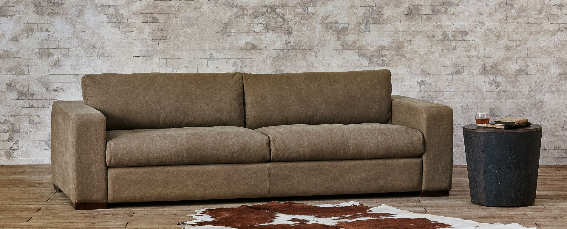 Aberdeen Sofa Leather Cotton Canvas Velvet Or Wool 96