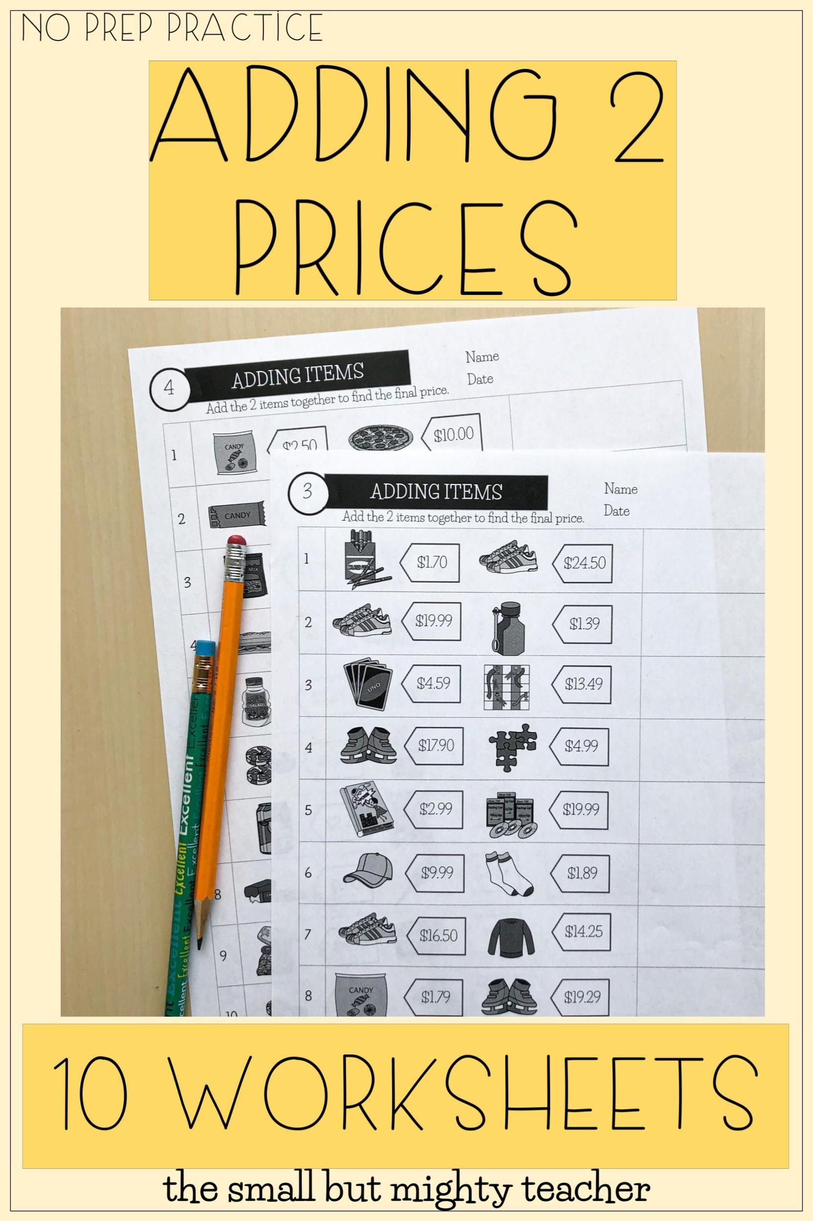 Adding 2 Items Worksheets