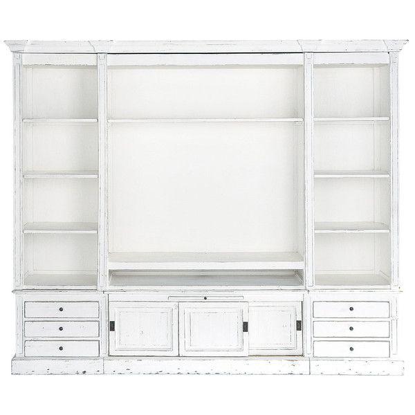 Bibliothèque meuble TV en bois massif ivoire L 264 cm Salons
