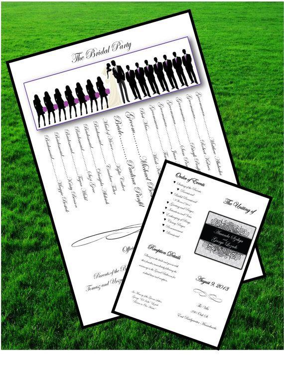 Wedding Program Silhouette Printable Programs Customized