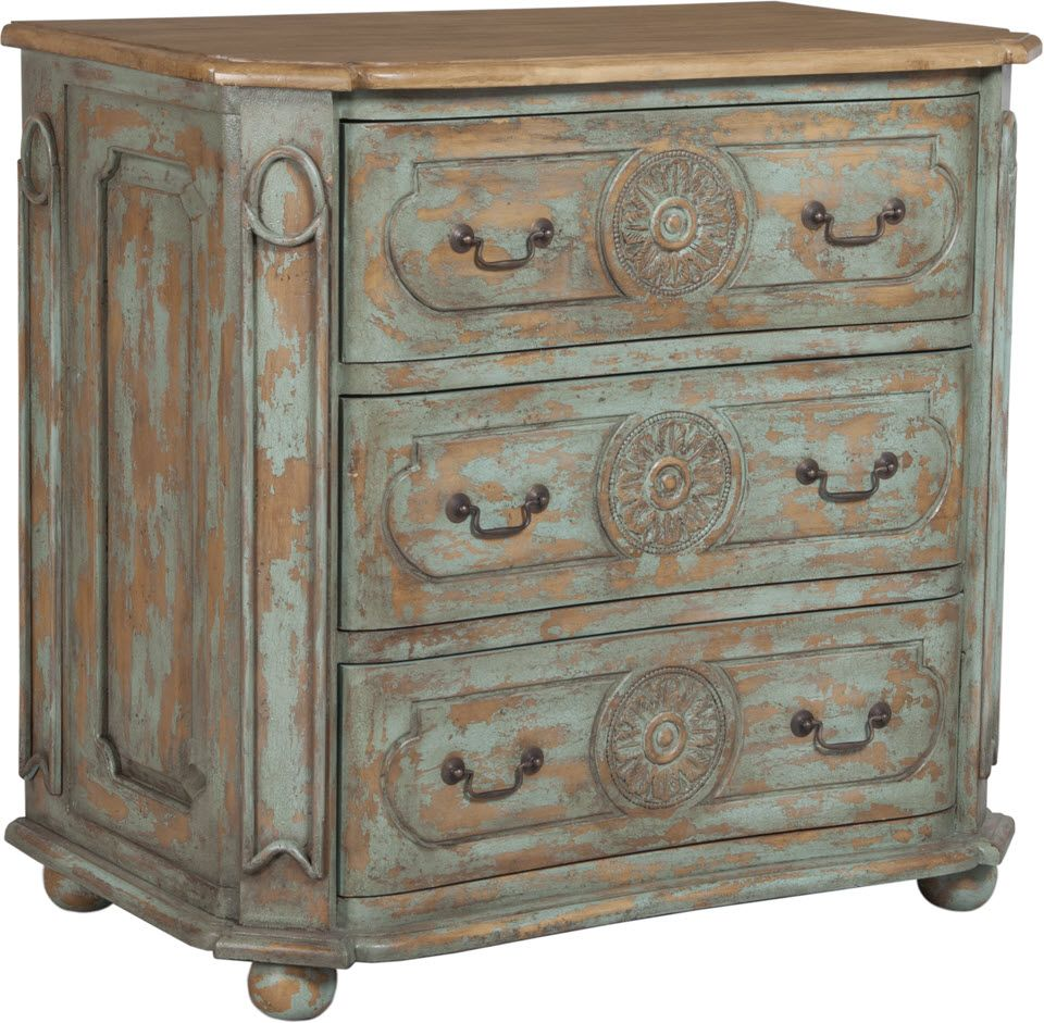 MEDALLION CHEST - Artisan Surf City with heavy distress on hand carved mahogany three drawer chest. Artisan Dark Stain on chest top. Antiqued hardware. Dimensions H 36.25 x W 38 x Depth