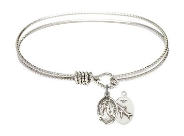 St Perpetua Charm On A 8 Inch Round Double Loop Bangle Bracelet