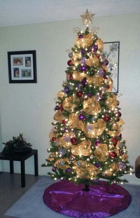 my christmas tree 2015 purpleredgold and green ornaments with gold deco mesh