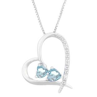 Diamond 2 stone aquamarine march birthstone heart pendant in diamond 2 stone aquamarine march birthstone heart pendant in sterling silver gemologica offers aloadofball Image collections