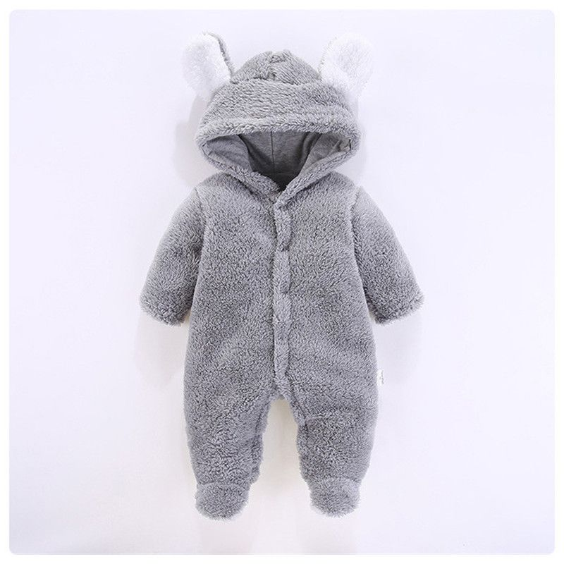 Winter Newborn Baby Boy Girl Warm Plush Clothes Hooded Romper Jumpsuit Outfit UK