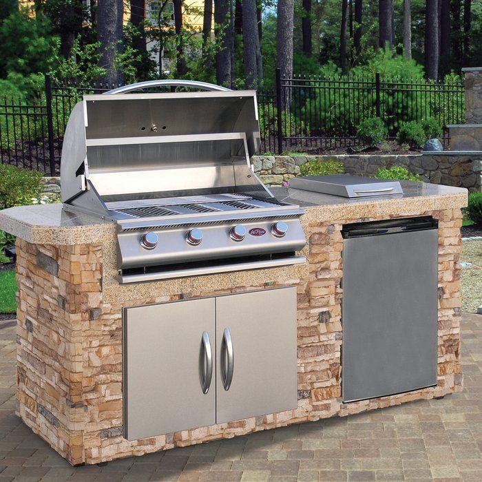84 3 Piece 4 Burner Liquid Propane Bbq Island Grill Island Outdoor Kitchen Design Outdoor Cooking