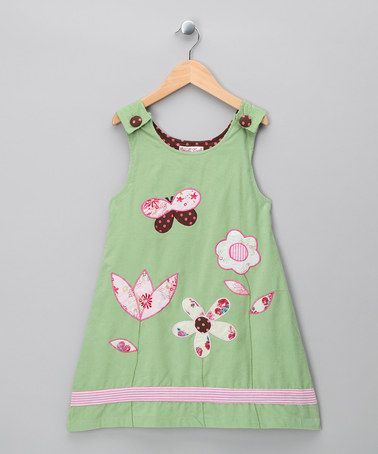 Take a look at this Green Flower Cord Dress by Powel Craft on #zulily today!