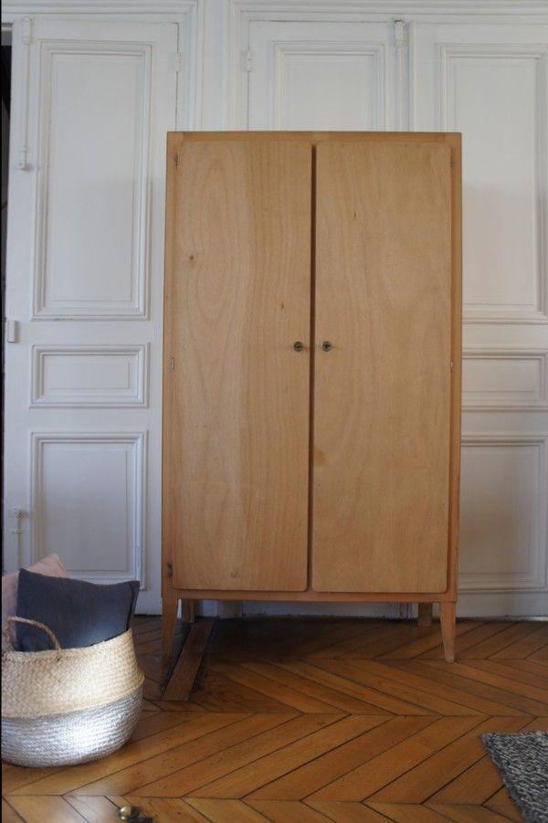 armoire ann es 50 pieds compas meuble vintage a repeindre dans les coloris de votre choix. Black Bedroom Furniture Sets. Home Design Ideas