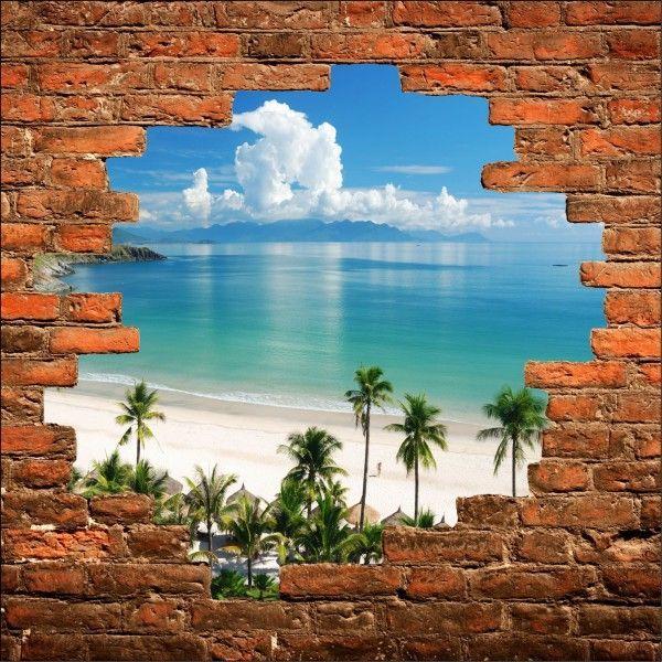 Trompe l 39 oeil murals sticker mural trompe l 39 oeil plage Poster mural trompe oeil