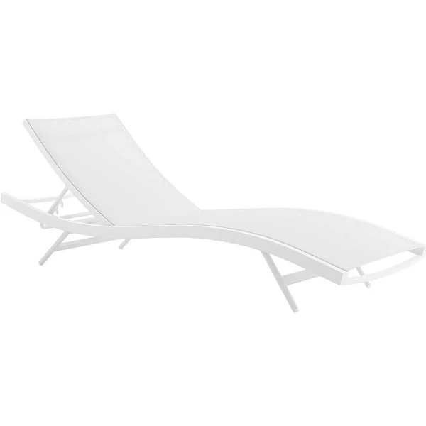 Modway Glimpse Outdoor Patio Chaise Lounge Chair White Mesh