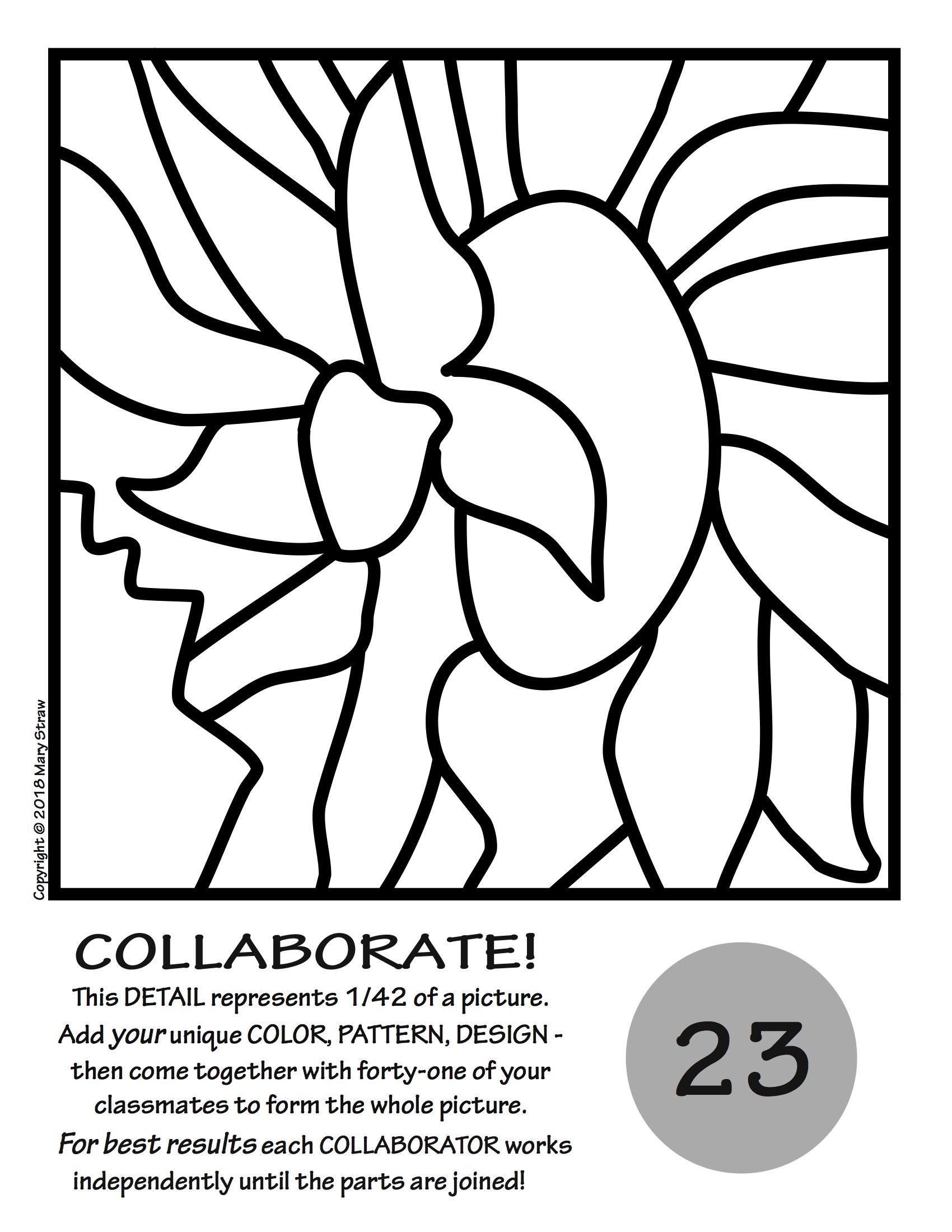 Sunflowers by van gogh collaborative activity coloring for Girasoli di van gogh da colorare