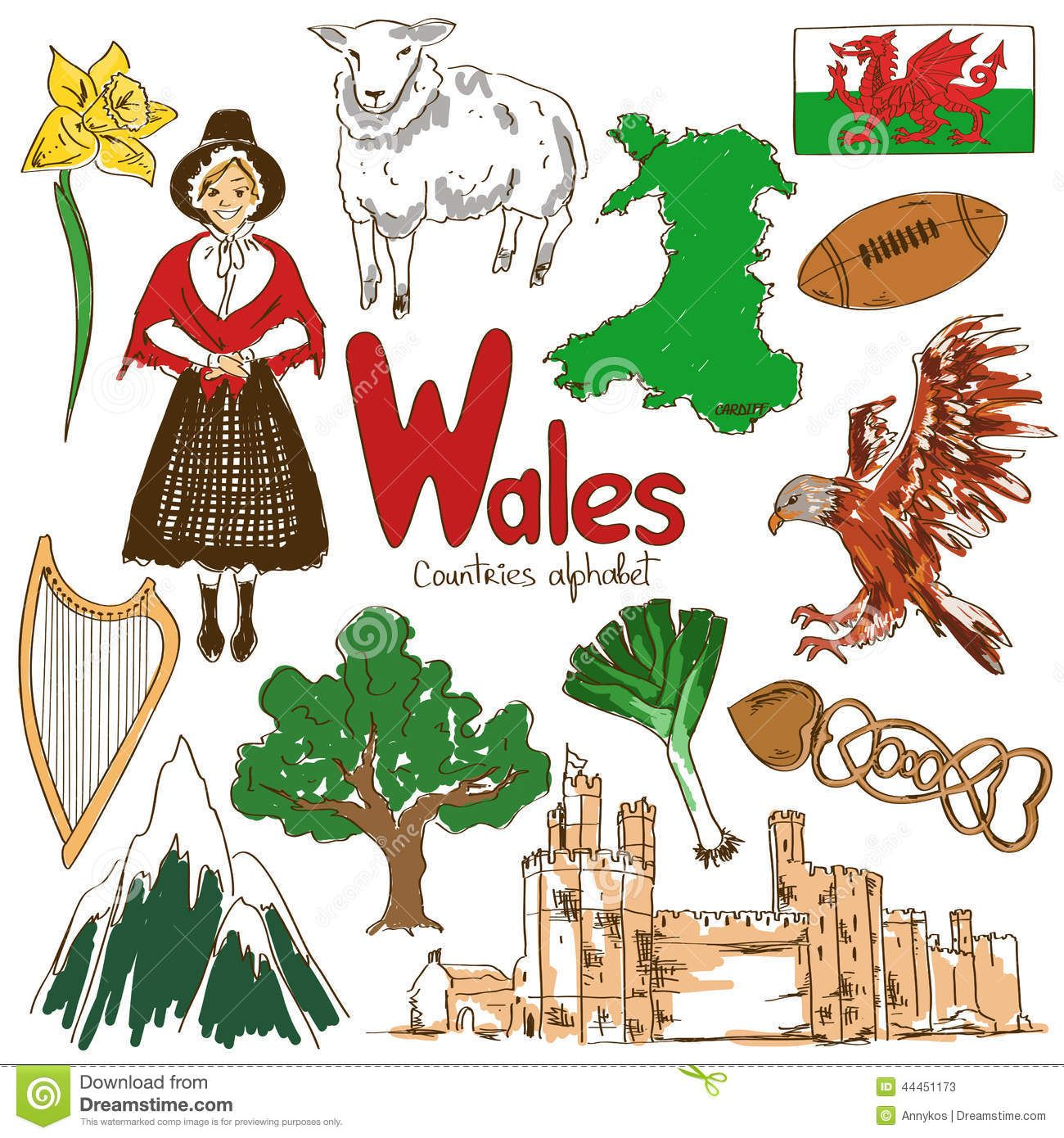 Collection Wales Icons Fun Colorful Sketch Countries