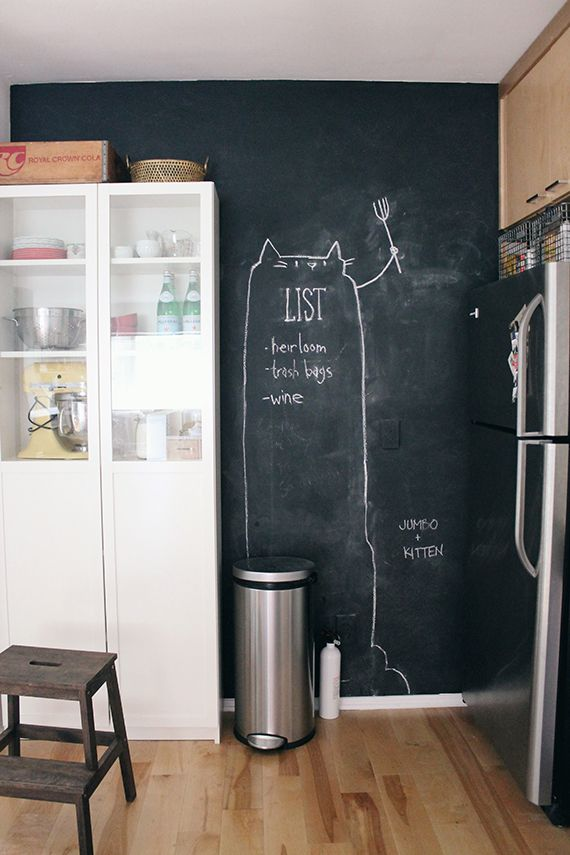 Kitchen Chalkboard Wall On A Vinyl Sticker For The Awkward Small Between Laundry Closet And Hallway