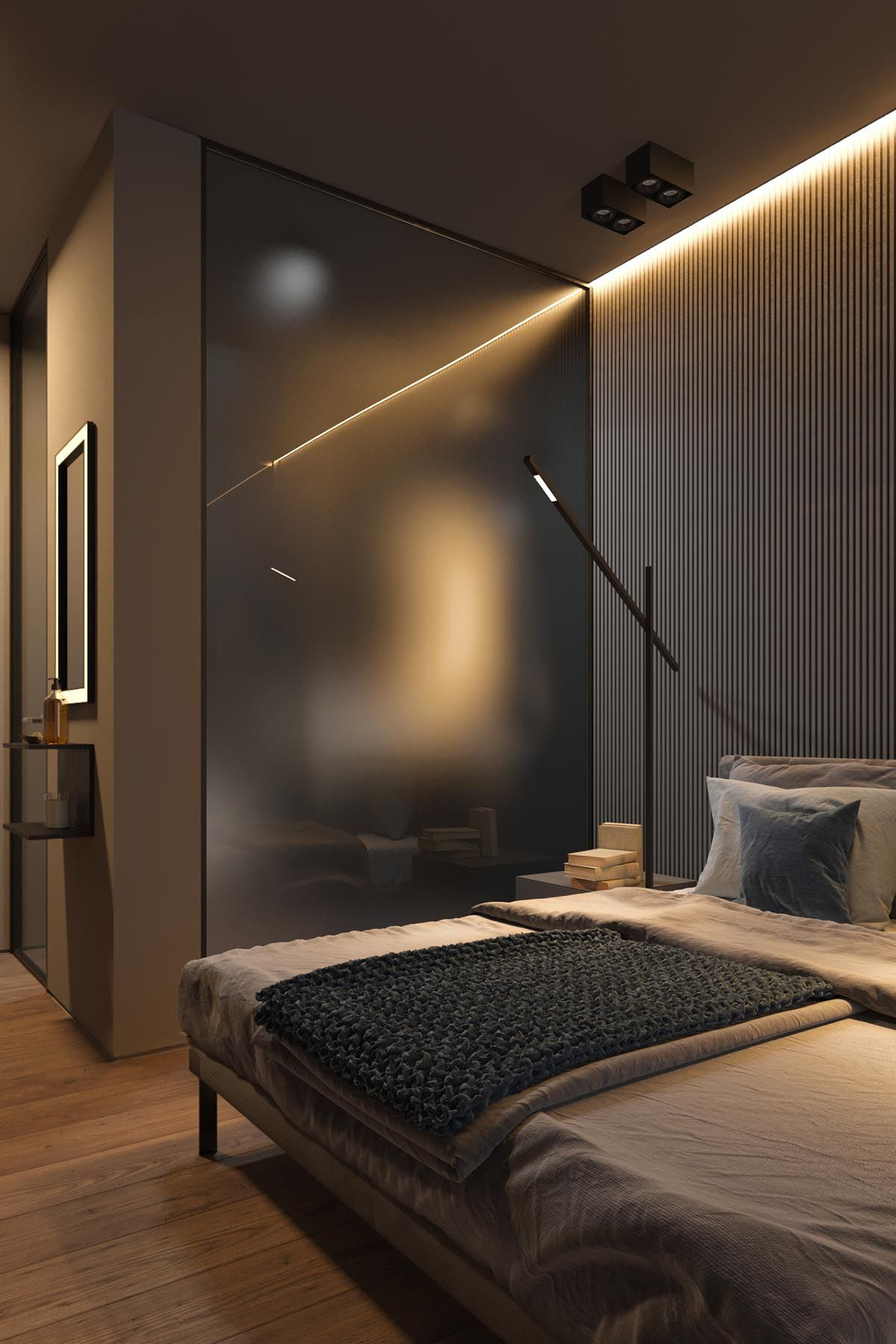 Dark Grey Home Decor With Warm Led Lighting Modern Bedroom Design Grey Home Decor Loft Interior Design