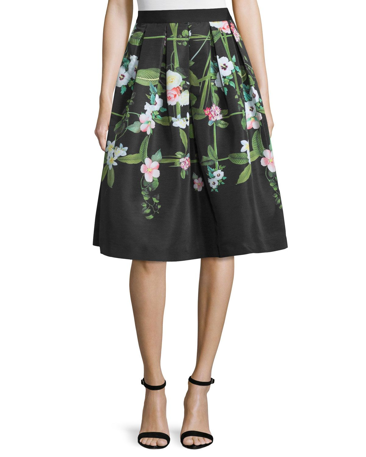 Emmalin Secret Trellis Full Skirt, Black - Ted Baker London