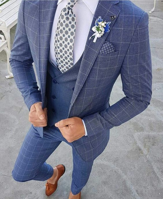 9607a5463 15 Popular Navy Blue Groom Suits for your Wedding - Mens Wedding Style