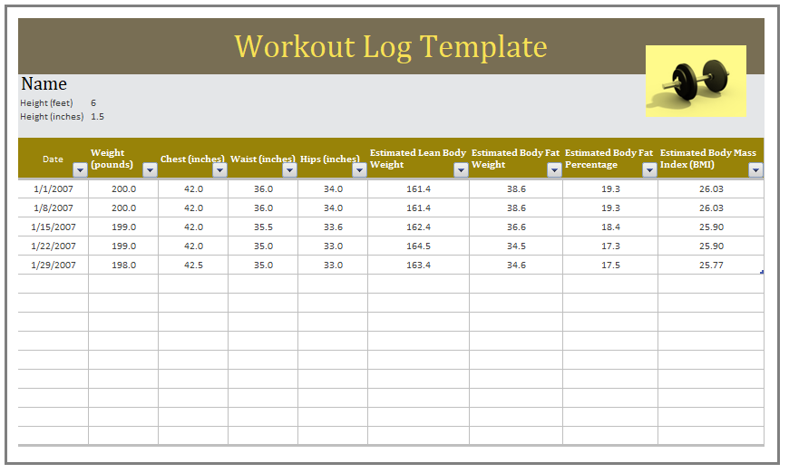 Workout Log Template With Images Workout Log Templates