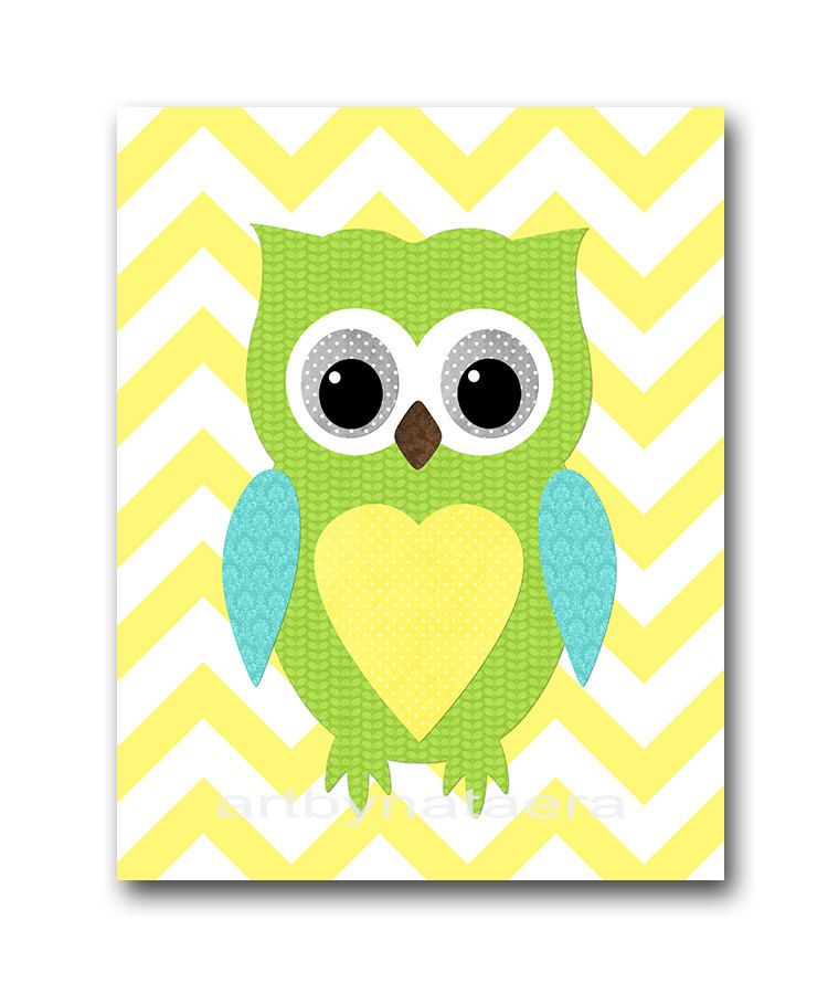 Yellow Green Owl Wall Decor INSTANT DOWNLOAD Art Baby Nursery ...