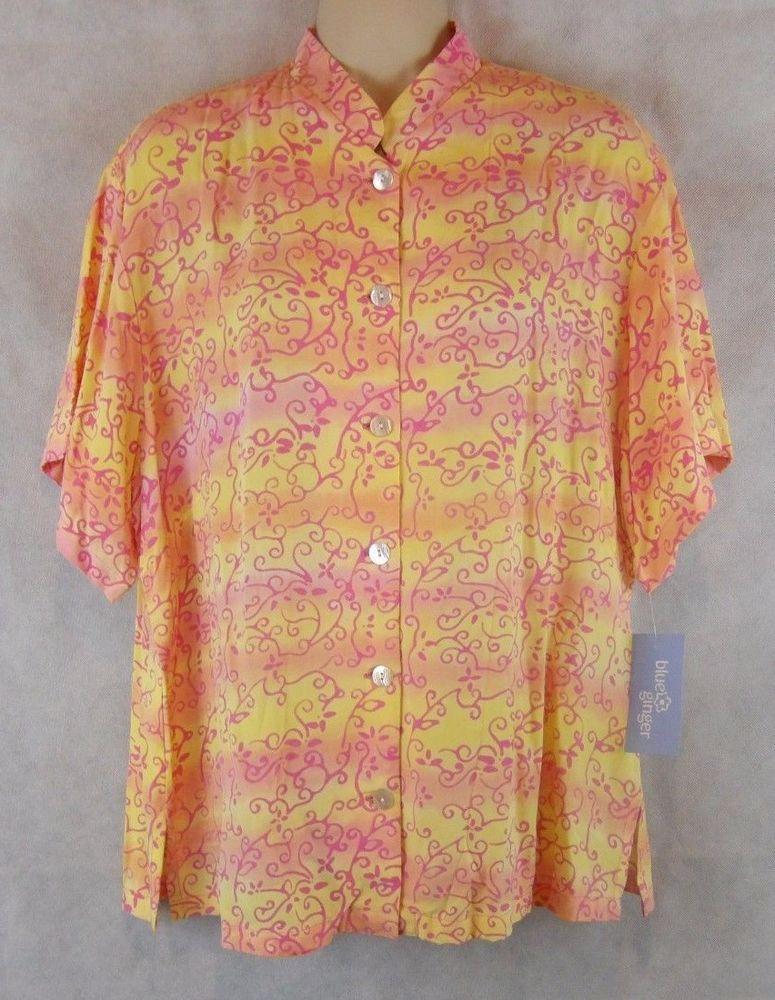 Blue Ginger Hawaiian Designs Button Top Vines 100% Rayon Size XL NWT  #BlueGinger #ButtonDownShirt