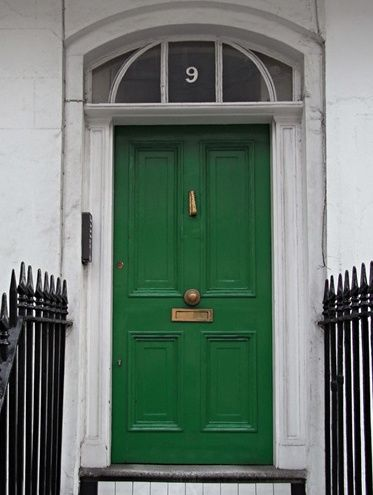 kelly green front door [[looks so good with a black + white …