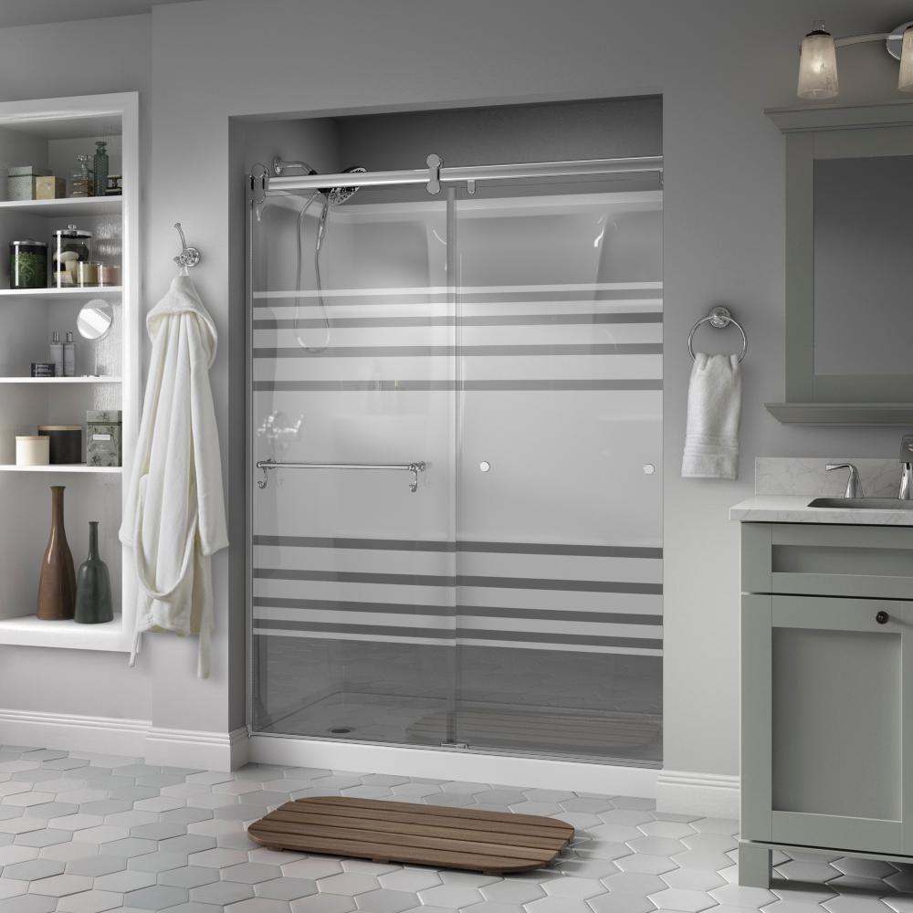 Delta Portman 60 In X 71 Semi Frameless Contemporary Sliding Shower Door