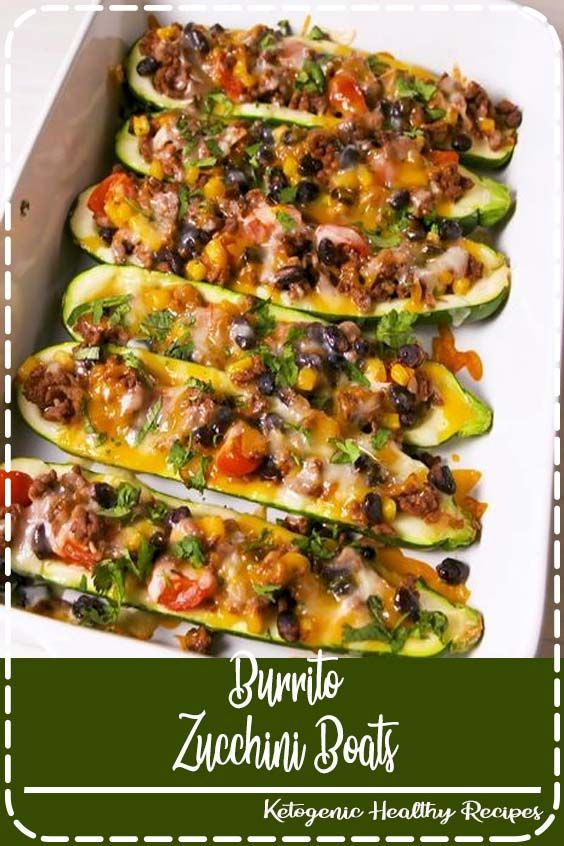 Burrito Zucchini Boats Burrito zucchini boats are a lowcarb lovers dream Get the recipe at