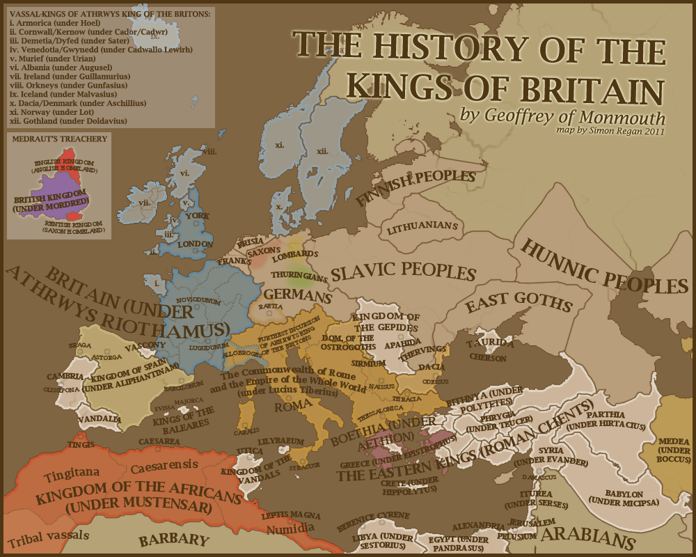 The History Of The Kings Of Britain By Sregan Europe Map Map History