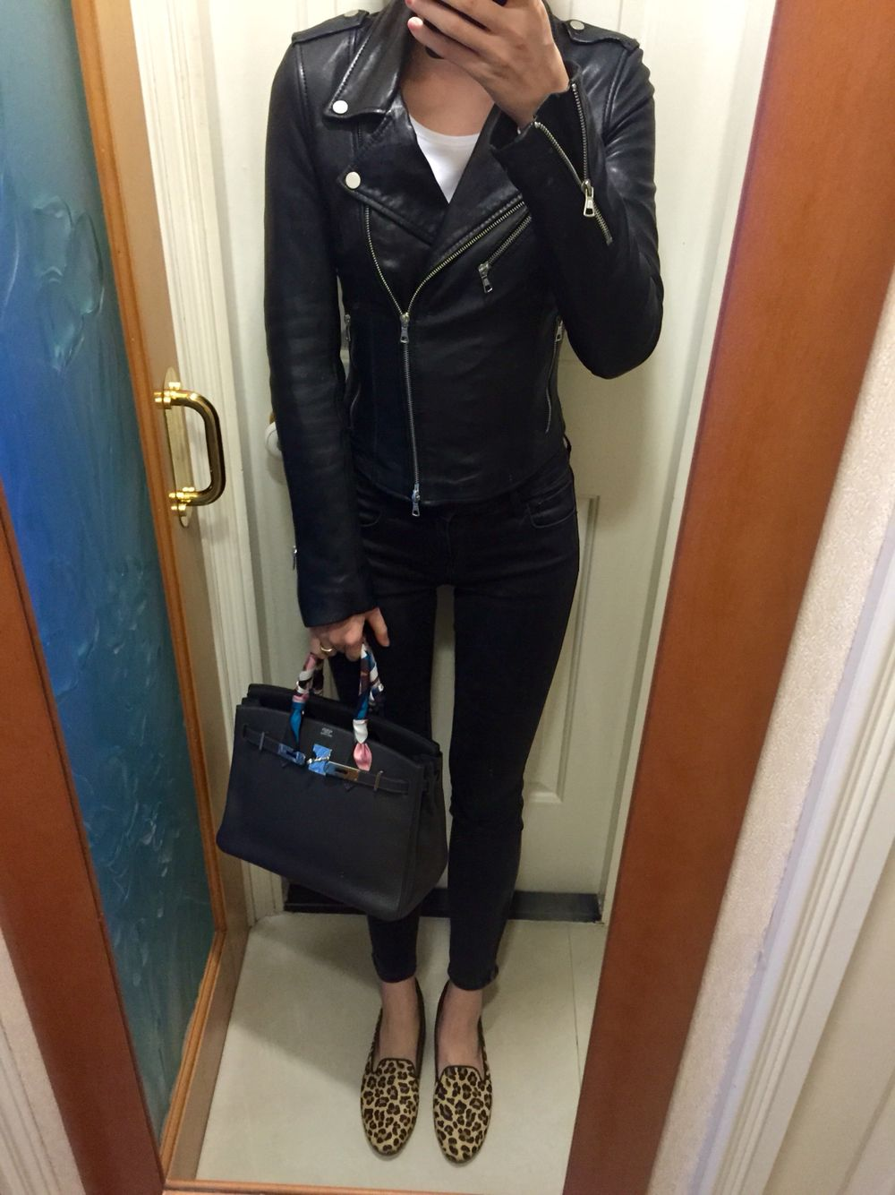 Zara leather biker jacket, H&M white tee, UNIQLO skinny
