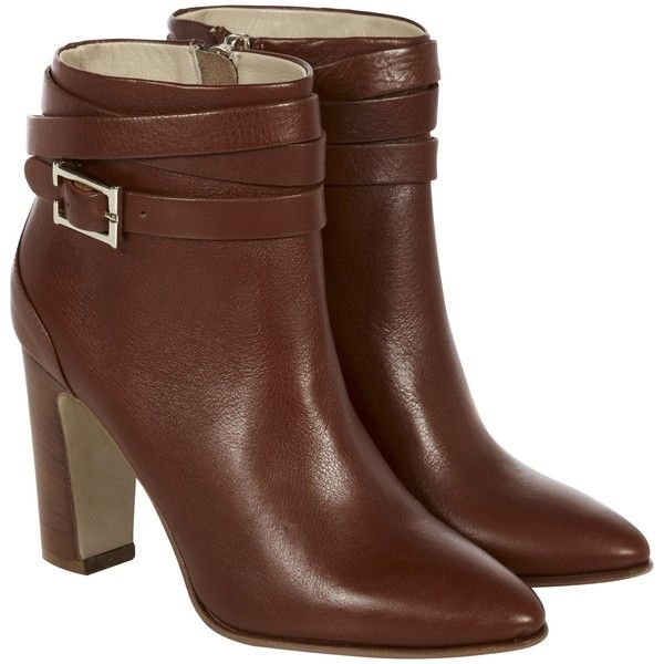 8e2196d07c8 Hobbs Dree High Block Heel Ankle Boots, Dark Tan ($150) ❤ liked on ...