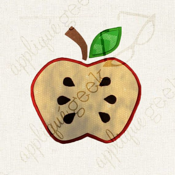 Hey Apple, Your Seeds Are Showing! Applique Embroidery Design INSTANT DOWNLOAD for DIY projects, from Designed by Geeks. Use any embroidery machine - Brother, Viking, Janome, Bernina, Pfaff, Singer - to stitch this design.  This is an appliqué design of an apple with the seeds showing.
