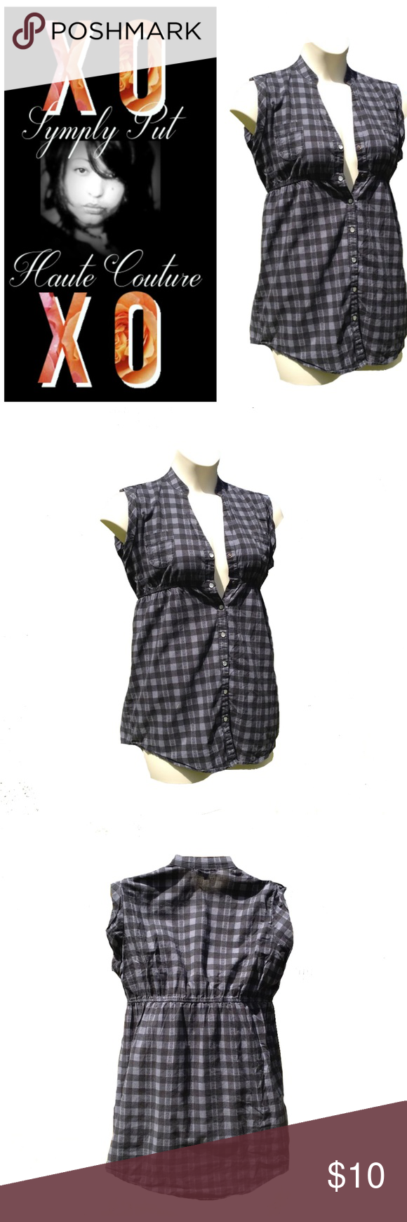 Sleeveless Black Gray Buffalo Check Pattern Top Snap down